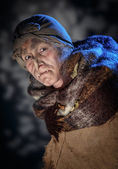 Actress dressed as Baba Yaga. — Stock Photo