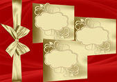 Christmas design with golden bow and copy space — Stock Photo