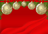 Red Christmas background design with white gold bulb decorations — Stok fotoğraf