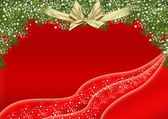 Red Christmas background design with green fur decorations — Stock Photo