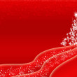 Red Christmas background design with white Christmas tree — Stock Photo