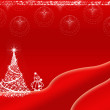 Red Christmas background design with white Christmas tree and snowman — Stock Photo