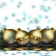 Christmas Balls With Falling Snowflakes Background Design — Stock Photo