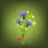Red ribbon cornflower bouquet — Stock Vector