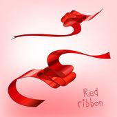 Gekrulde rood lint eenkıvrılmış kırmızı kurdele bir — Stok Vektör