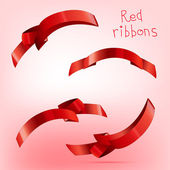 Ribbon curled red c — Stock Vector