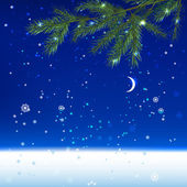 Snow night landscape — Stock Vector