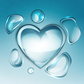 Water drop heart next — Stock Vector