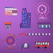 City buildings set — Stock Vector