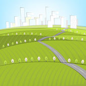Eco Roads landscape — Stock Vector