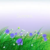 Green Grass and flowers — Stock Vector