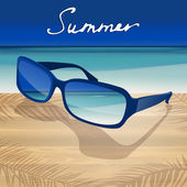 Summer background with blue sunglasses. — Stock Vector