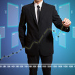 Businessman touch graph improve suggest more — Stockfoto