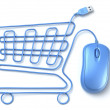 Blue computer mouse shopping cart — Stock Photo