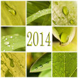2014, collage gouttes d'eau — Stock Photo