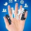 Smile fingers for symbol of social network — Stock Photo