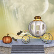 Cinderella's carriage pumpkin and mice into a stage — Stock Photo