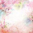 Scenic watercolor background, floral composition Sakura — Stock Photo