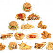 The unhealthy food pyramid on a white background — Stock Photo