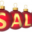 Sale Christmas balls red gold  Retail shopping business  — Stok fotoğraf