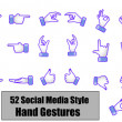 Different Social media style hand gestures, hand signs, hand — Stock Photo