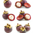 Set of mangosteen images — Stock Photo