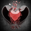 3d render of red broken heart abstract background High resolution — Stock Photo
