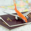 Passeport, voyage par avion — Stock Photo