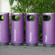 Cylindrical Recycle Bins  In The Park — 图库照片