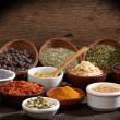 Different bowls of spices — Stock Photo