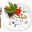 Food Supplements vs Healthy Diet — Stock Photo