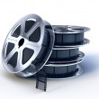 stack of movie films spool with film — Stock Photo