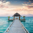 Sunset Sunrise Jetty at Maldives  Malediven — Stock Photo