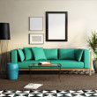 Contemporary elegant green sofa, fresh moroccan living room — Stock Photo