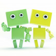Cute 3d friends waving hand Two robotic friends — Stock Photo