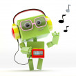 Etro-styled green android with tape recorder in headphones with musical notes symbols  Robotic music lover — Stock Photo