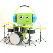 Cool cartoon green drummer plays on drum set  Talented musician plays — Stock Photo