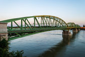 Bridge connecting two countries, Slovakia and Hungaria before su — Stock Photo