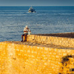 Old Fisherman on the Sea — Foto Stock