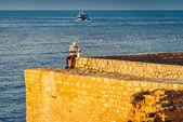 Old Fisherman on the Sea — Stock Photo