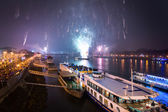 Passenger Boat with Fireworks in Background — Stock Photo