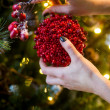 Decorating of the christmas tree — Stock Photo