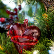 Red heart on the christmas tree — Stock Photo
