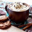Stock Photo: Hot chocolate with marshmallow and whiped cream