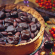 Chocolate tart with chocolate ganache , amaretto and dried plums — Stock Photo