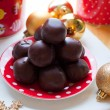 Chocolate truffles with chocolate ganache — Stock Photo
