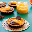 Pumpkin tarts with orange curd and melted chocolate — Stock Photo #40498071