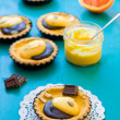 Pumpkin tarts with orange curd and melted chocolate — Stock Photo #40582027