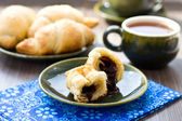 Croissants with chocolate filling and cup of tea — Stock Photo