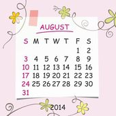 2014 calendar design. August. — Stock Photo